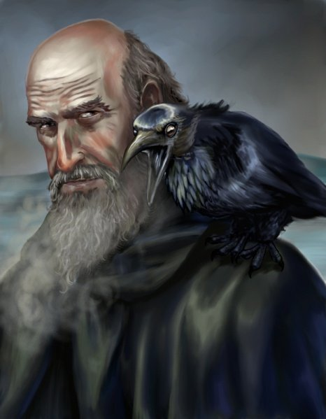 Файл:Mormont and his raven by Veronica V Jones.jpg