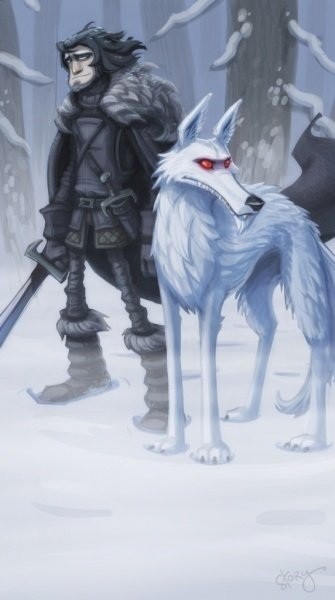 Файл:Jon snow and ghost by oozn.jpg