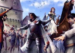 The Hound rescued Sansa Stark during the Riot of King's Landing by Mathia Arkoniel.jpg
