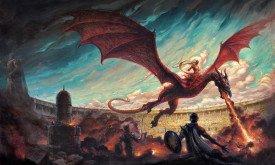 Дэйнерис верхом на Дрогоне