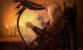 Игра Рэйгара на арфе