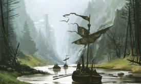 Корабль в протоке реки