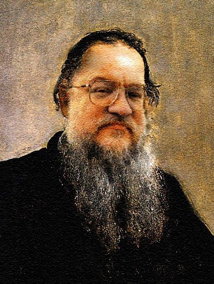 Коллаж из фотографии Джоржа Мартина и портрета Льва Николаевича Толстого
