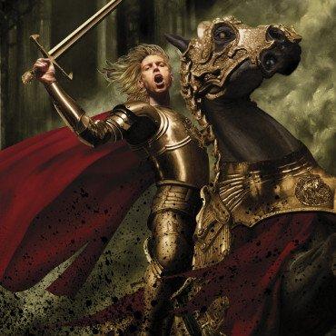 Джейме Ланнистер (август). Символ зодиакального созвездия Льва — разумеется, лев, так что я не устоял перед искушением изобразить в этом месяце Ланнистера. В книге, даже если специально выискивать, не так уж много описаний Джейме в битве, но перед нашим мысленным взором он всегда предстает дерзким и бесстрашным воином. Я попробовал изобразить на картине то, что должны были увидеть перед собой Эддард Карстарк и Дарин Хорнвуд в битве в Шепчущем лесу.