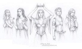 Королевы Вестероса (если бы они были одного возраста): Мирцелла, Маргери, Серсея, Дэйнерис и Санса