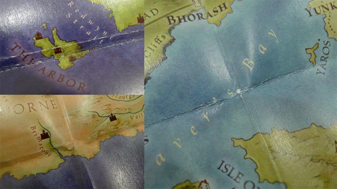 Дефекты карты из-за сгибов