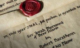 Сия грамота от 298 г. от. З.Э. именем Роберта Баратеона, Первого этого имени, гарантирует прощение сиру Джораху Мормонту с Медвежьего острова.