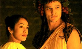 "Purva Bedi and Pedro Pascal in the Target Margin Theater production of ""OLD COMEDY from Aristophanes' Frogs"" by David Greenspan. Photo credit: Joe Dore"