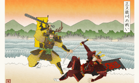 Бой между Робертом Баратеоном и Рейгаром Таргариеном. Роберт вооружен японской палицей канабо, а его шлем точь-в-точь, как у генерала Хонда Тадакацу.