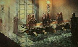 Концепт-арт приема посетителей в Железном банке Браавоса. Обратите внимание, что Станнис в начальном варианте стоит перед банкирами. А что за лица у них? Вольный стиль художника? Или это маски?