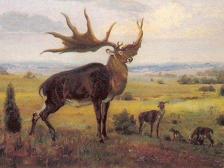 Олень Megaloceros giganteus, иллюстрация Зденека Буриана