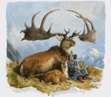 Еще одна иллюстрация Megaloceros giganteus вместе с человеком и пятнистым оленем. Художник Джеймс Гурни («Динотопия»).