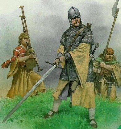 Воин-наёмник, служивший в армиях ирландских владетелей и происходивший из гэльских кланов Западных островов и Шотландского высокогорья, — галлоглас.