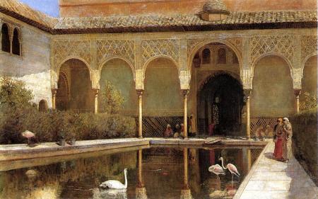 Двор в Альгамбры во времена мавров, худ. Эдвин Лорд Уикс