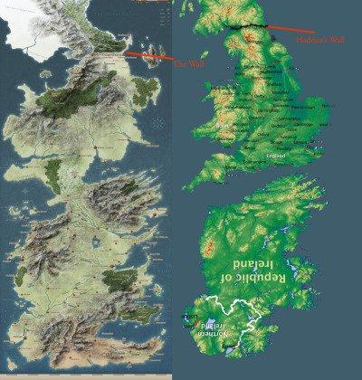 Сопоставление Вестероса и объединенных Англии и Ирландии