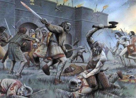 Нападение пиктов на Адрианов вал. Иллюстрация из книги Пола Вагнера «Pictish Warrior Ad 297-841» (худ. Wayne Reynolds)