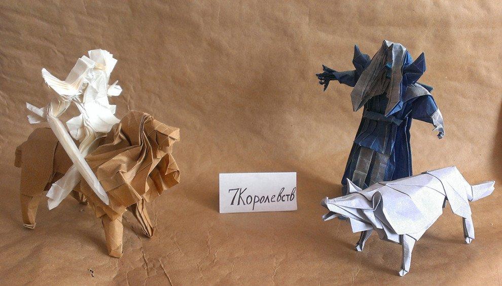 Белый Ходок верхом на льве, синий воин (пусть будет Король Ночи) и лютоволк (Андрей)