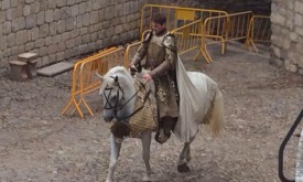 Джейме верхом на белой лошади