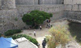 Лена Хиди под деревом, а некто в доспехах Стронга рядом
