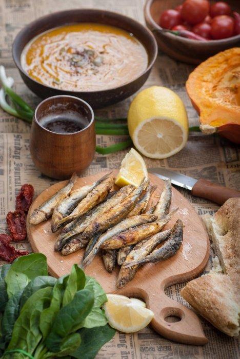 Тыквенный суп и рыба к нему