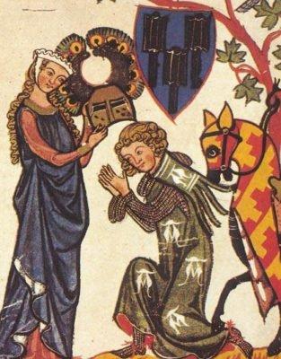 Рыцарь преклоняется пред Прекрасной девой (фрагмент иллюстрации из средневековой книги)