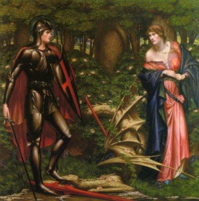 Рыцарь и убитый дракон (худ. Sidney Harold Meteyard)
