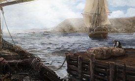 Корабль покидает бухту