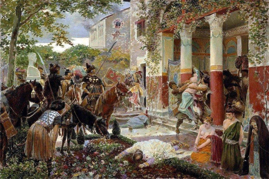 Гунны Аттилы грабят римскую виллу, худ. Жорж Рошгросс