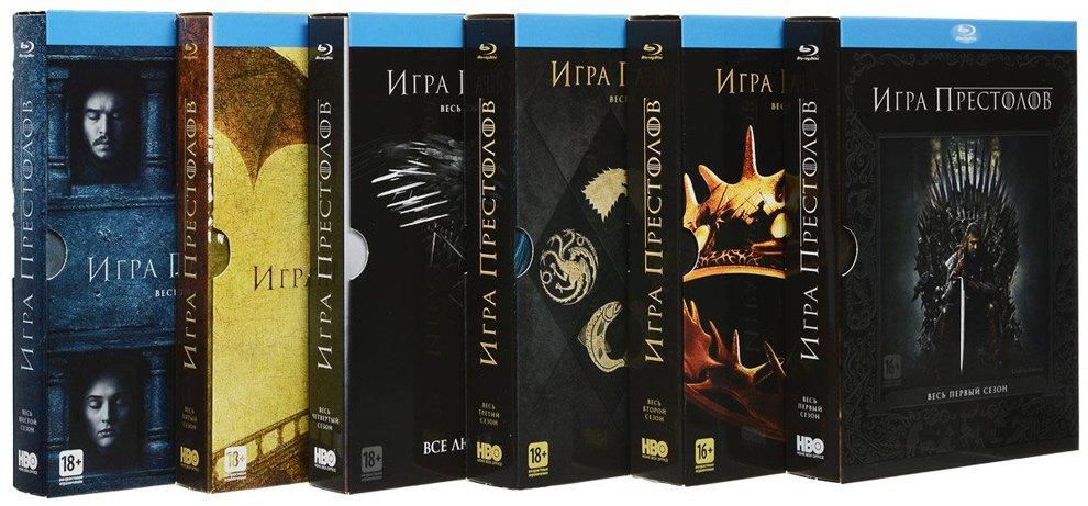 Состав бокса с шестью сезонами Игры престолов на Blu-ray