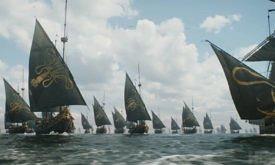 Наутро под стены Королевской Гавани прибывают корабли победителей: увы, гербы обеих сторон одинаковые.