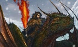 Джон на драконе с пламенным мечом, чистой воды фанарт
