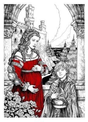 Беременная королева Рейла с сыном перед отплытием