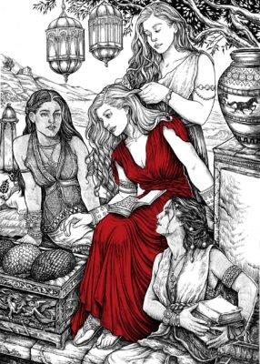 В кхаласаре Дейнерис окружали три служанки. Они рассказали, что среди их народа говорят о происхождении драконов.