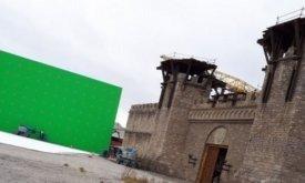 Слева от ворот стоит большой зеленый экран