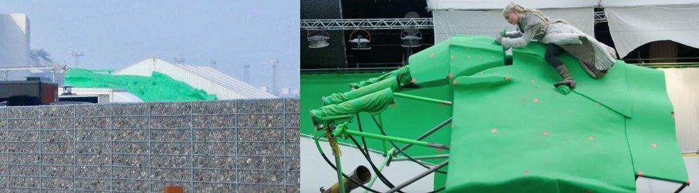 Большая зеленая конструкция на съемках 8-го сезона (слева) и похожая конструкция меньших размеров для съемок Дейнерис на драконе (справа)