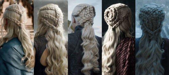 Число косичек растет по мере того, как Дейенерис принимает важные для себя решения. На фотографии косы в 3-м, 4-м, 7-м и 8-м сезоне.