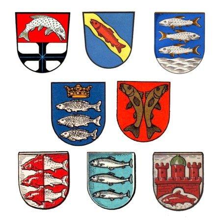 Примеры земных гербов с рыбами