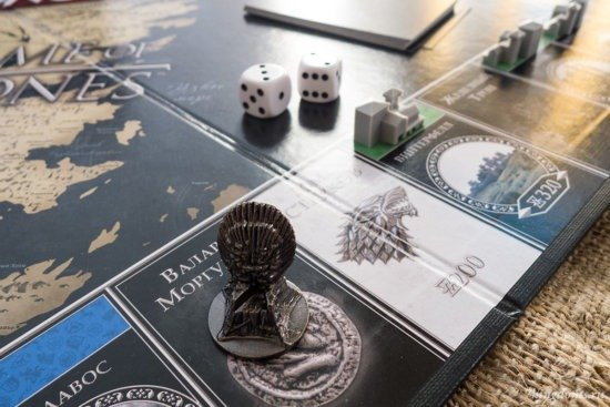 В процессе игры: игрок с фигуркой Железного трона встает на поле «Валар моргулис» и тянет карточку…
