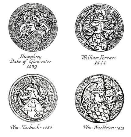 Примеры средневековых печатей с щитом и нашлемником
