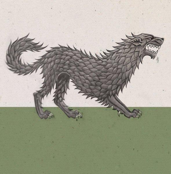 Стоящий лютоволк на гербе Старков