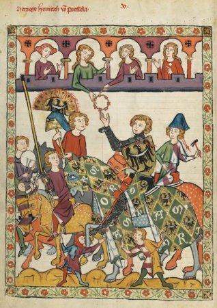 Страница из средневековой иллюминированной рукописи Манесский кодекс. ок. 1300 г.
