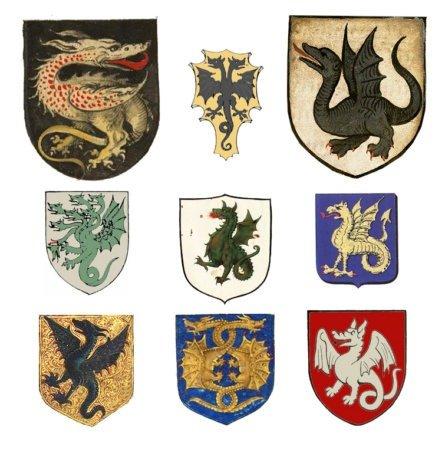 Примеры земных гербов с драконами