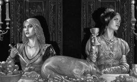 Принцесса Рейнира Таргариен и королева Алисента Хайтауэр на праздничном пир