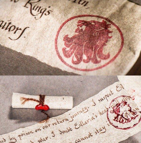 Использование герба Ланнистеров в печатях королевы Серсеи и сира Джейме