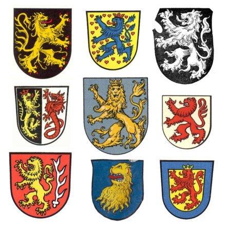 Примеры земных гербов со львами