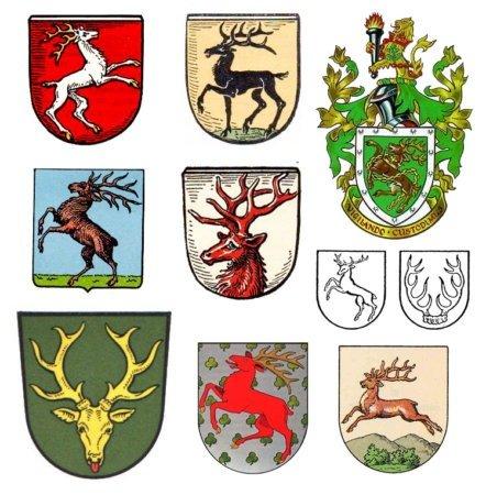 Примеры земных гербов с оленями