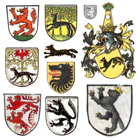 Примеры земных гербов с волками
