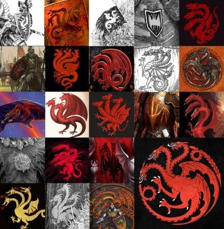 Герб Таргариенов в исполнении различных художников, включая несколько моих рисунков. У каждого из этих вариантов есть свои проблемы.