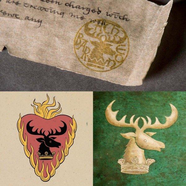 Голова оленя на печати Роберта Баратеона (наверху) и на гербах Станниса и Ренли Баратеонов (внизу)