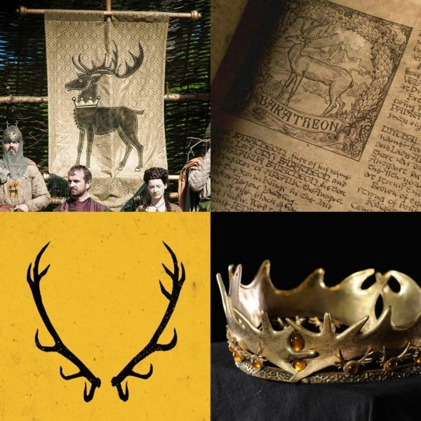 Стоящий олень на штандартах и в книге; (внизу слева) отвергнутая версия с рогами оленя; (внизу справа) рога в декоре короны